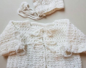 1960s crochet baby set.  Revived beauty.  Approx 6-12 months