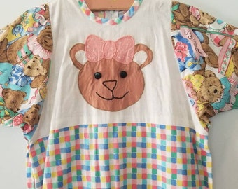 Vintage teddy bear accented romper. Approx size 3