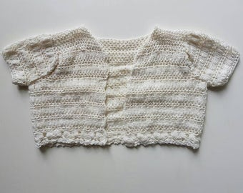 Midcentury bolero jacket. Crochet baby, heavier weight shrug