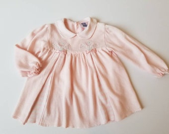 Vintage machine knit toddler dress. Approx size 12-18 months