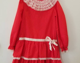 Vintage polka dot children dress. Approx size 6x/7