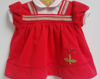 Vintage red polyester baby dress. Approx size 6 months