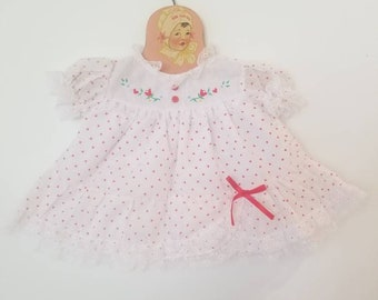 Vintage polka dot baby dress. Approx size Newborn to 14 lbs