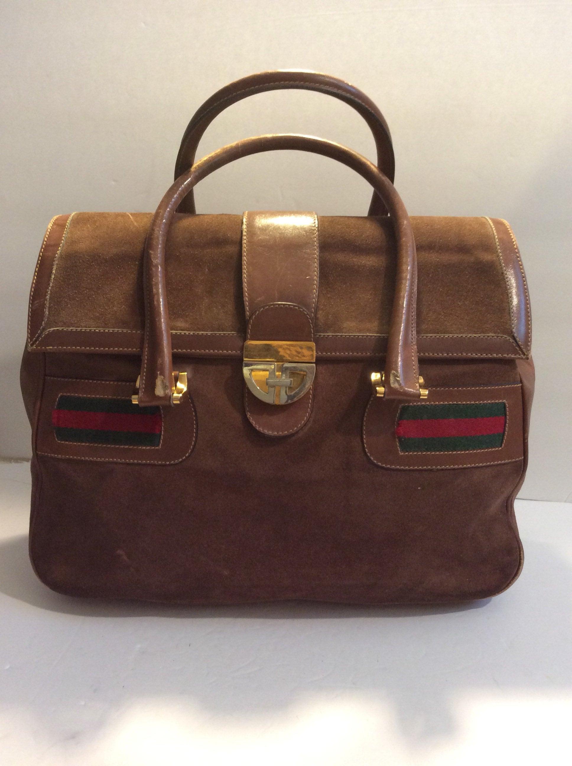 da759b8b86af RARE Vintage 60s Gucci monogram suede satchel | Etsy