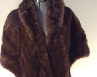 Vintage Poncho honey brown mink fur