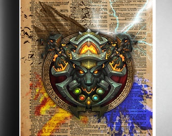 c89600acb WOW art, world of warcraft shaman symbol, 4 elements on vintage dictionary  page