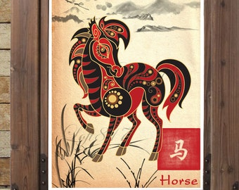 Chinese Zodiac Horse, Asian Wall Art, Asian Art Print, Japanese Ink  Painting,