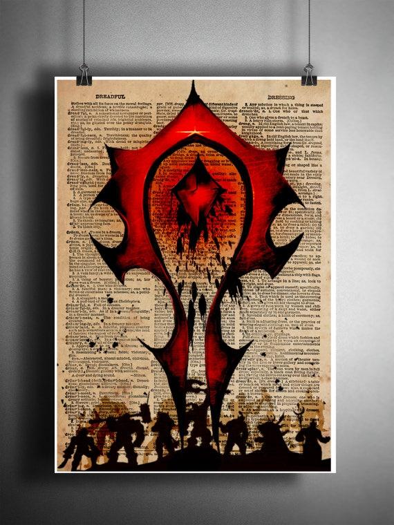 Wow Art World Of Warcraft Horde Art Horde Symbol On Etsy