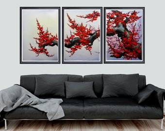 Cherry Blossom Wall Art, Japan Cherry Blossom Art, Red Cherry Blossom  Painting, Set
