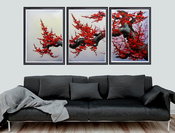 Cherry blossom wall art Japan cherry blossom art red cherry | Etsy