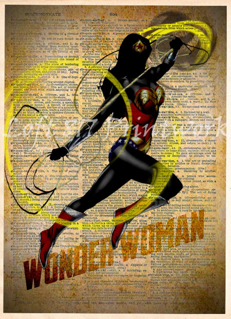 Wonder Woman Print  Wonder Woman wall art  Vintage pop art image 0