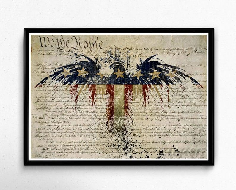 4feaed4b615e Patriotic Decor American flag art american eagle art print