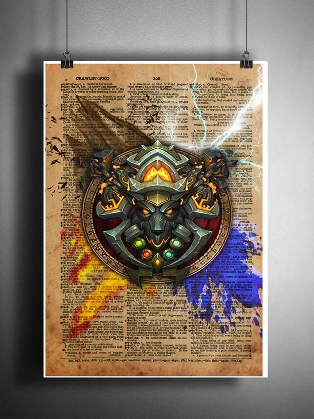 Wow Art World Of Warcraft Shaman Symbol 4 Elements On Etsy