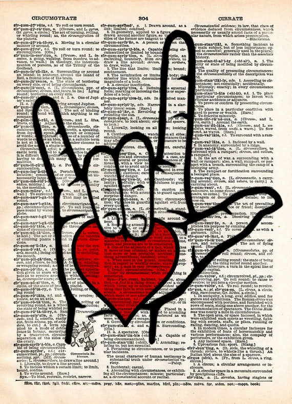 I Love You Sign Sign Language I Love You Art Romantic Heart Etsy