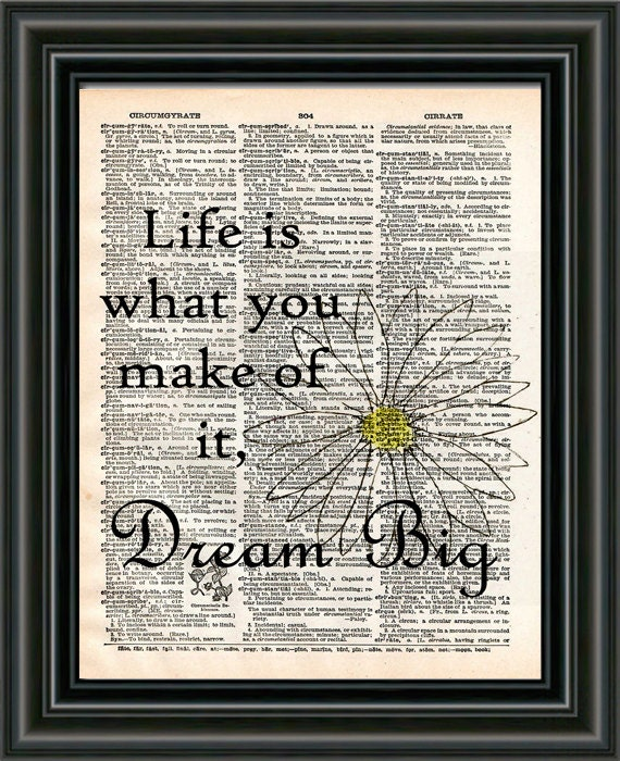 Dream Big Wall Quote Life Is What You Make Of It Quote Etsy