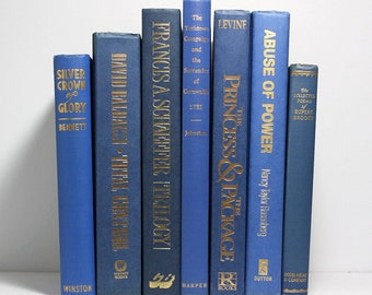 Blue Books Assorted Shades 7 Vintage Hardcover First Edition Princess Diana Biography Home And Office Decor Bookshelf