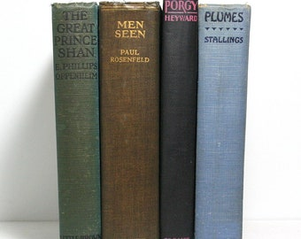 Antique Books, Set of 4 Hardcover Books, Old Books, Home Decor, Published 1922 to 1925, Book Bundle, Collectibles