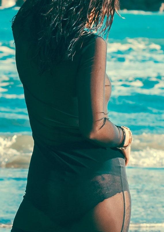 Sheer Turtle neck Black Mesh Maxi Dress