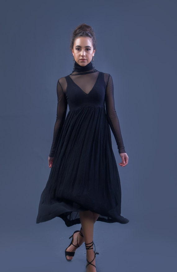 Beautiful Sheer Delicate Black Stretch mesh Dress
