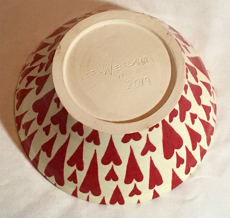 Clear Food Safe Glazed Finish Handmade wheel-thrown Red Hearts Natural Clay Background Hand Painted Hearts NOT STAMPS Ceramic Bowl