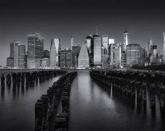New York Piers, New York City Skyline, Manhattan, Empire State Building, Brooklyn, Black and White - Travel Photography, Print, Wall Art