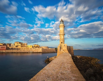 Chania Lighthouse, Crete, Greece Photography, Hania, Harbor, Mediterranean Sea, Old Town, Venetian - Travel Photography, Print, Wall Art