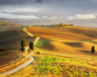 Tuscan Hills, Countryside, Tuscany, Italy, Farmhouse, Rustic, Belvedere, Val d'Orcia - Travel Photography, Print, Wall Art