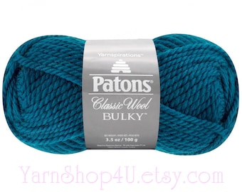 MALLARD TEAL Bulky Patons Classic 100% Wool Yarn. The color is a dark Blue Teal. Bulky 100 percent Wool. 3.5oz ~78yds. Feltable Wool 3.5oz <