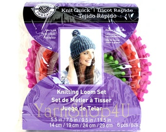 4 Loom Set, Loops & Threads® Knit Quick™ Knitting Loom Set, Includes 4 Round Looms with hook and needle, Circular Loom, Round Loom