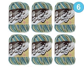 WATERFRONT OMBRE 6 Pack! 2oz | 95yds each. Lily Sugar N Cream The Original 100% Cotton Yarn. 2 ounces / 95 yards ea. 6 skein bag = Bulk Buy!