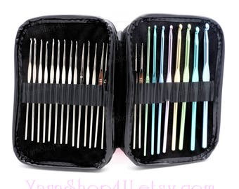 25pc Crochet Hook Set. 24 Hooks and a Pink Zipper Case. Compare to Boye Crochet Master! US SIZES D-K aluminum hooks & 00-14 Steel hooks
