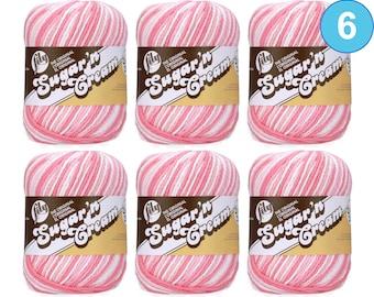 STRAWBERRY OMBRE 6 Pack! 2oz | 95yds each. Lily Sugar N Cream The Original 100% Cotton Yarn. 6 skeins - Bulk Buy!