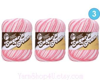 STRAWBERRY OMBRE 3 Pack 2oz | 95yds each. Lily Sugar N Cream The Original 100% Cotton Yarn. 3 skeins Bulk Buy!