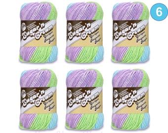 VIOLET STRIPES 6 Pack! 2oz/95yds each. Lily Sugar N Cream Stripes. Original 100% Cotton Yarn. 2 ounces / 95 yards. Self Striping. Bulk Buy!