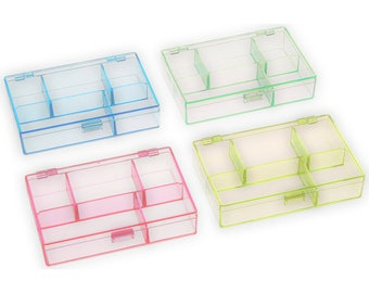 """4pc Neon Plastic Storage Organizer Containers 3.5"""" x 4.5"""" x 1"""" (Set of 4) Darice brand. Colored Transparent Acrylic Hinged Case. Notion Box."""