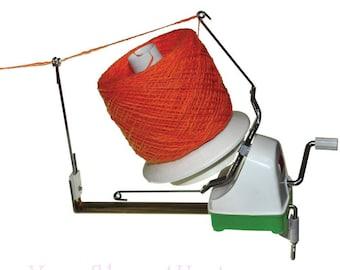 JUMBO YARN WINDER. Lacis Jumbo Yarn Ball Winder has 8oz yarn capacity. Tabletop mount makes center pull balls and needs no cones or sleeves