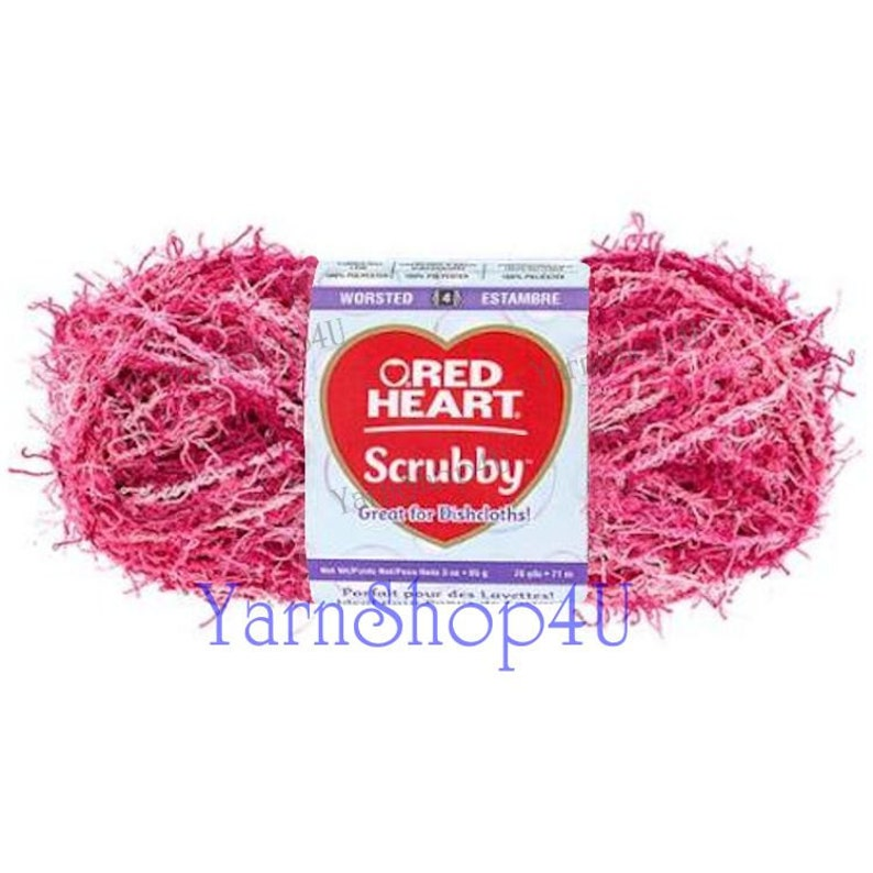pink scrubby yarn scratchy yarn CANDY Polyester Red Heart Scrubby Yarn Variegated For dish scrubbers and body scrubbers! Dishcloth yarn