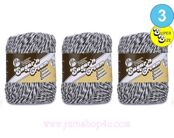 OVERCAST TWISTS 3 Pack! Super Size 3oz | 143yds Lily Sugar'n Cream Twists. 100% cotton yarn. Black, White and Gray Twists. Bulk Buy!