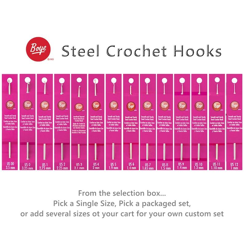 Boye Steel Crochet Hooks Size 00 0 Size 1 Size 2 Size 3 Etsy
