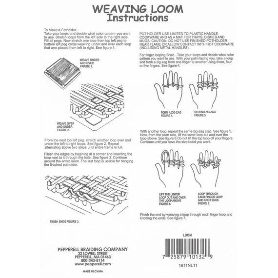 POT HOLDER Weaving LOOM Easy LOOP Pepperell KIT Maker Craft /& 4 Oz Stretch Loops