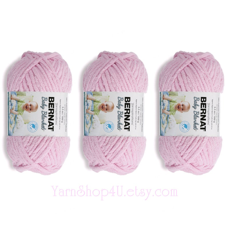 BABY PINK Bernat Baby Blanket - 3 Pack Bulk Buy! A Chenille type yarn in  Super Bulky size works up quick! Light Pink 100% Acrylic  3 5oz  <