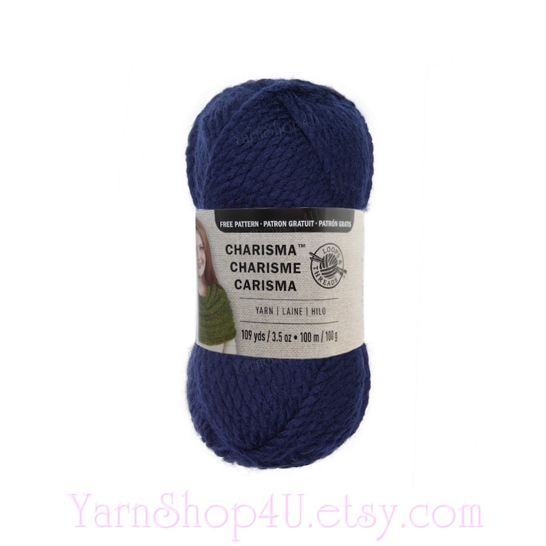 DARK BLUE  Charisma Loops and Threads Yarn  This Textured Bulky Solid Blue  acrylic Yarn is a nice Navy Blue shade  3 5oz Acrylic 109yds <