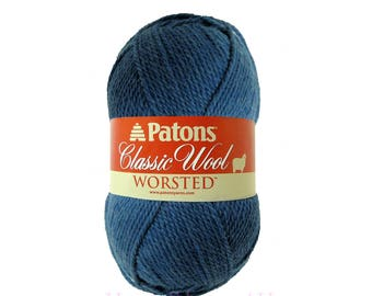 NEW DENIM Patons Classic Wool. Blue pure wool yarn. Blue Felting yarn.  100% Wool Yarn. Classic Patons Pure wool is great for felting. <
