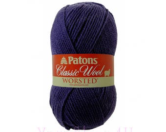 ROYAL PURPLE Patons Classic Wool yarn. Dark Purple Wool Yarn. This 100% Wool Yarn is great for felting. It is worsted weight Pure New Wool >