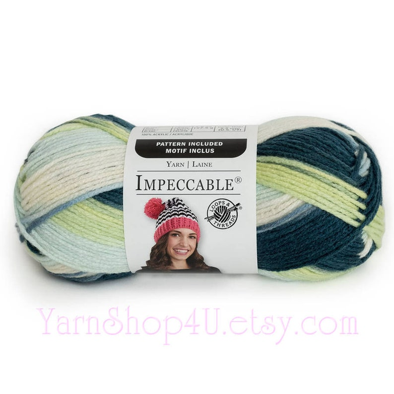 TROPICAL FRUIT Impeccable Yarn  Loops and Threads Impeccable  Shades of  green  100% Acrylic Multi Color Ombre Variegated  3 5oz <
