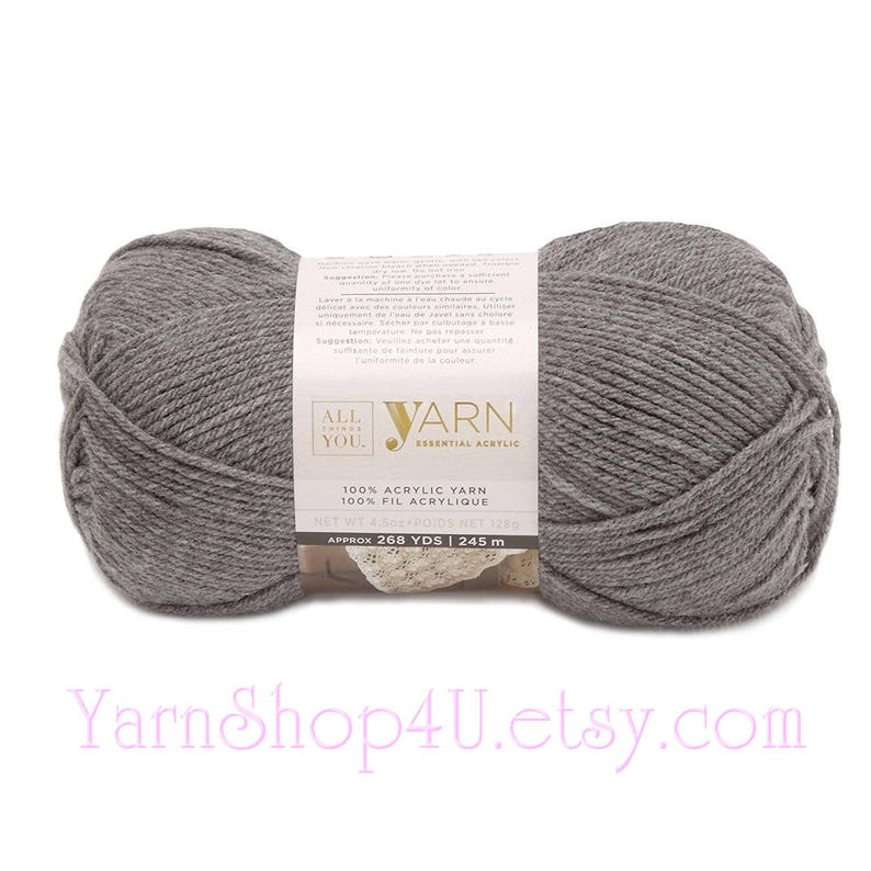 TRUE GREY  All Things You Essential Acrylic Yarn  Big 4 5oz Ball  Solid  Light Grey Worsted Yarn  Same as Michaels Impeccable True Grey yarn<