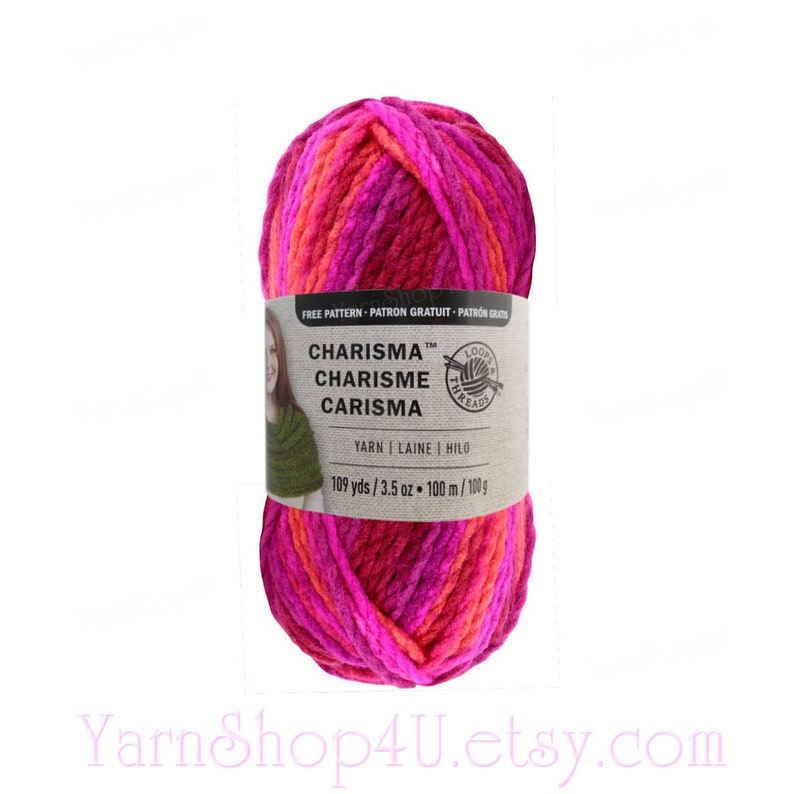 BRIGHT POP Bulky Charisma Loops and Threads Yarn  Bright Pink Purple Orange  Ombre Yarn  3 5oz 109yd  Thick Chunky Variegated Soft Acrylic <