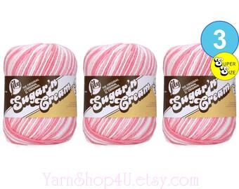 STRAWBERRY 3 Pack! Super Size 3oz | 143yds. 100% Cotton yarn. Original Lily Sugar N Cream. (3 ounces | 143 yards) 3 skein Bulk Buy!
