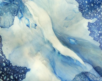 Ocean Painting, Art Print, Blue Ocean Abstract Water Painting, Seaweed Coral and Surf, Currents and Waves, Unique Art Print, Nautical
