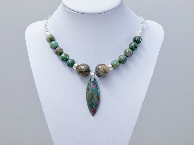 Unique Stone Necklace ~ Bold Stone Necklace ~ Ruby in Zoisite Jewelry ~ Ruby in Fuchsite ~ Green Stone Necklace ~ Chunky Statement Necklace